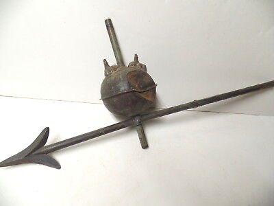 Early Solid Copper Lightning Rod Arrow With Ball & Eagle Claw Feet