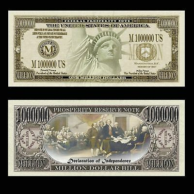Realistic $1,000,000 Million Dollar Bill Prosperity Liberty Note