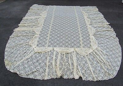 """Antique 106"""" x 126"""" All Over Lace Design Netted Draping Bedspread Ribbons"""