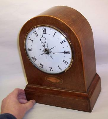 "Vintage/Antique MAHOGANY CLOCK CASE Inlaid Detail EDWARDIAN Mantel - 10.5"" High"