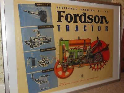 Original Standard Fordson Poster - Sectional Drawing Of The Fordson Tractor