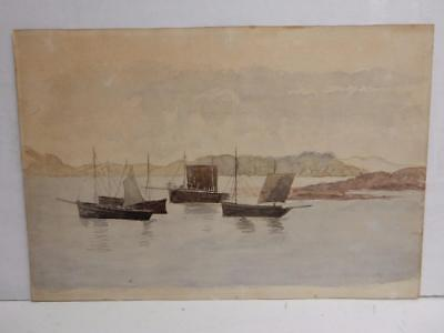 really old PAINTING  water colour sail boats sea