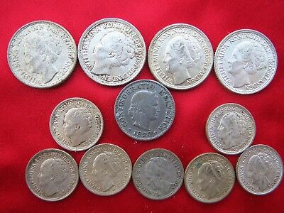 (11) Netherland  Coins (4) 25 Cent, (7) 10 Cent Coins; Part Silver