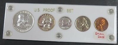 1960 Proof Set 90% Silver US Mint 5 Coins in Hard Case Small Date Variety #621