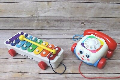 Vtg Fisher Price Toys Pull A Tune Xylophone and Classic Chatter Phone 1993 2009