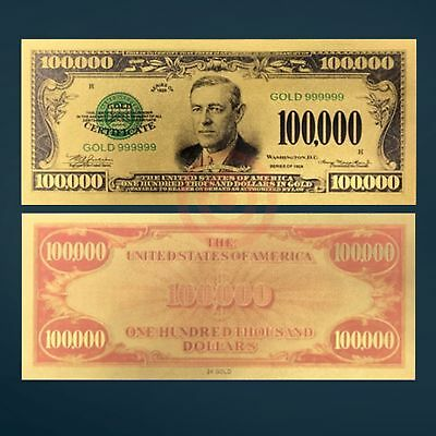 24k GOLD PLATED FOIL 1934 $100,000 DOLLAR BILL NOVELTY GOLD DOLLAR W/SLEEVE