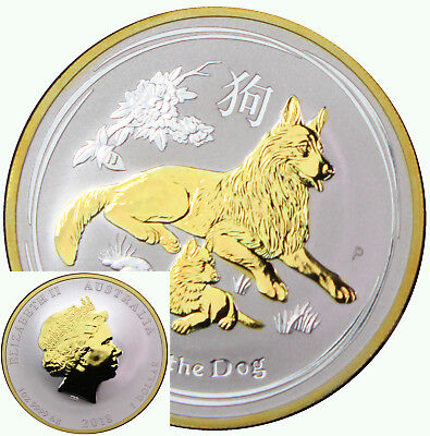 2018 Silver 1oz Perth Mint Year Of The Dog Lunar Series II 24k Gold Gilded