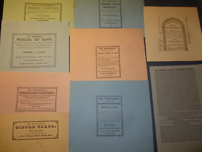 Lot of 9 Old Antique 1850's - DR. FONTAINE'S - Quack MEDICINE LABELS - Boston