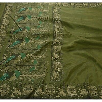 Sanskriti Vintage Indian Saree 100% Pure Silk Green Woven Ethnic Fabric Sari