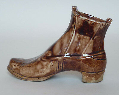 Antique Pottery Shoe / Boot Ornament with Rockingham Glaze (Flask / Bottle)