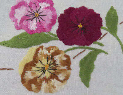 Divine Vintage  Embroidered Table Cloth with Colourful Pansy - Pansies & Vines