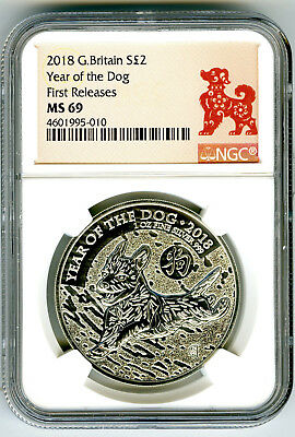 2018 Great Britain 1 Oz Silver 2Pd Ngc Ms69 Year Of The Dog First Releases