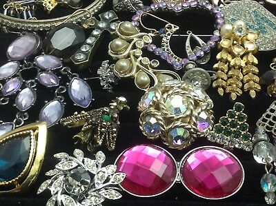 Large Lot Of Vintage~Now Rhinestone, Crystal.. Jewelry For Repair, Parts (E207)