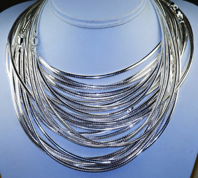 3mm Sterling Silver 925 Omega Chain Necklace, High Polished, Italy, Anti-Tarnish