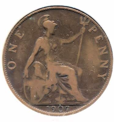 Great Britain 1907 Large One Penny Coin - United Kingdom England King Edward VII