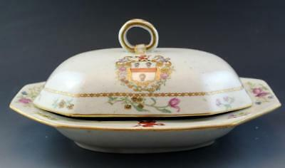 19C Chinese Export Armorial Porcelain Covered Serving Dish Tureen Floral No Res
