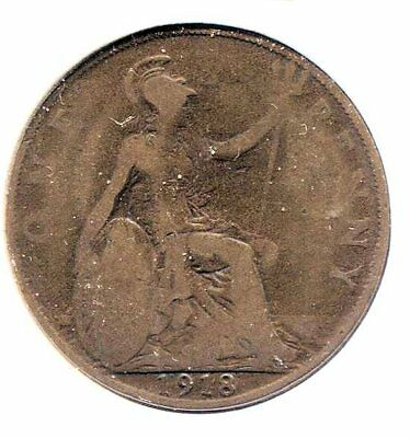 Great Britain 1918 Large One Penny Coin - United Kingdom England King George V