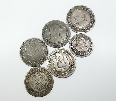 Estate Group 6 Spanish Colonial 18c Mexico King Charles III Silver Reales Coins