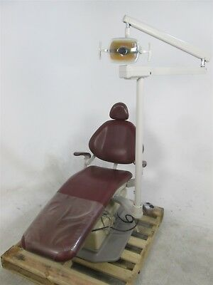 Maroon Adec 1020 Dental Exam Chair w/ Operatory Surgical Light