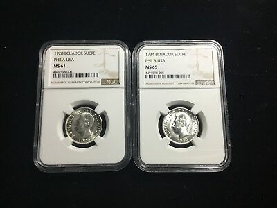 Ngc Ms 65 And 61 1934 1928 Ecuador Sucre Group Lot Of Two 39570,2