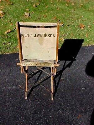 WW2 British RAF Officers I D'd Folding Canvas Chair   F/LT. T.J. Wadeson