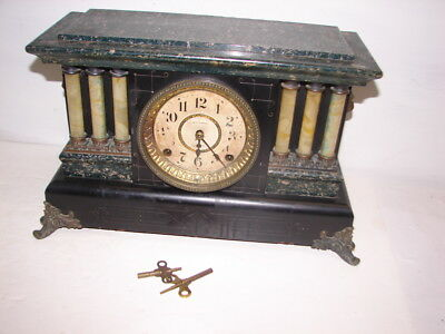 vintage Seth Thomas ADAMANTINE mantle Clock 6 pillar working with keys