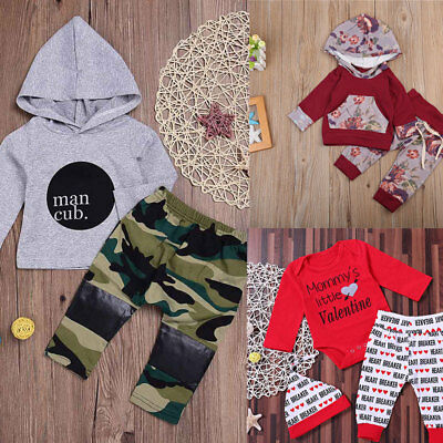 Newborn Infant Baby Boy Girls Clothes Hooded T-shirt Tops+Pants Outfits set