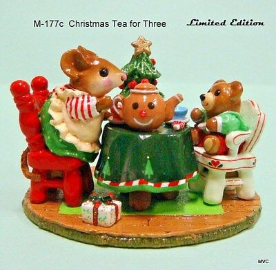 Wee Forest Folk M-177c Christmas Tea for Three-Limited Edition-Retired in 2007
