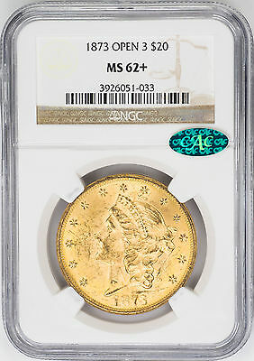 1873 $20 Open 3 Gold Liberty Head, Double Eagle - NGC MS62+ CAC Approved