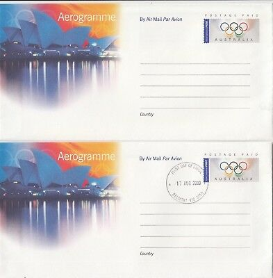 Stamp Australia 2000 Sydney Olympic Games aerogramme pair mint and 1st day issue