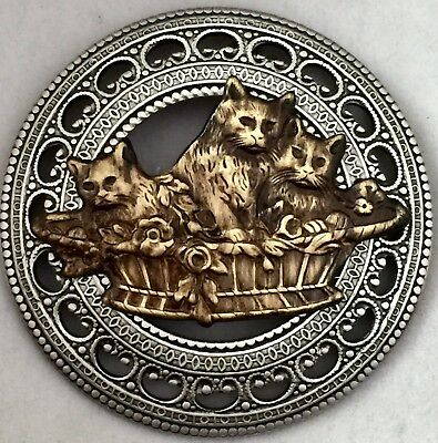 LARGE VINTAGE AND ANTIQUE BRASS BUTTON~Cute Kitten Or Cat Picture Button~1 3/4""