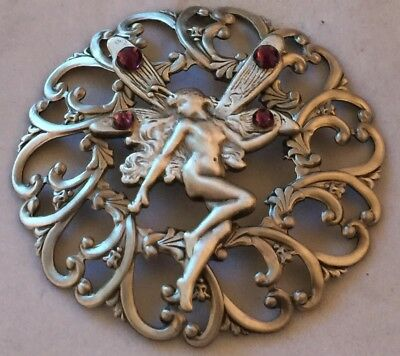 """DOMED FILAGREE BRASS~Sterling Overlay~""""AMETHYST JEWELED FAIRY BUTTON~2 1/2""""INCH"""