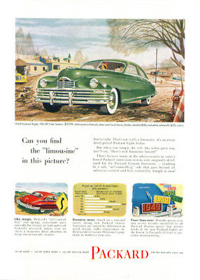 Can you find limousine in this picture? Packard ad 1949