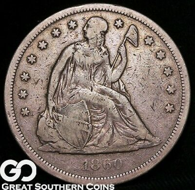 1860-O Seated Liberty Dollar, Sought After Early Silver Dollar Series, Free S/H!