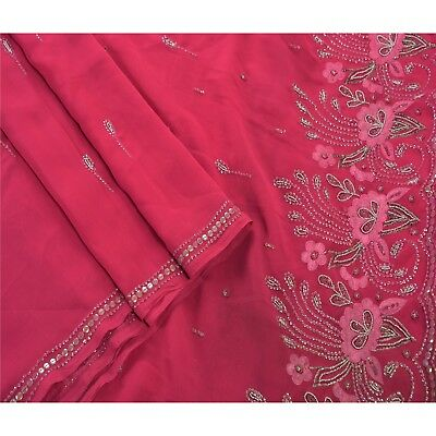 Sanskriti Vintage Saree Georgette Hand Beaded Fabric Premium Ethnic