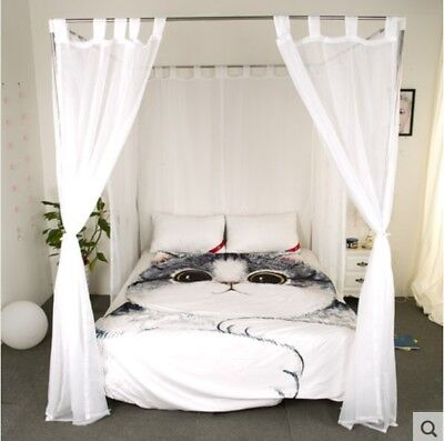 Single White Yarn Mosquito Net Bedding Four-Post Bed Canopy Curtain Netting .