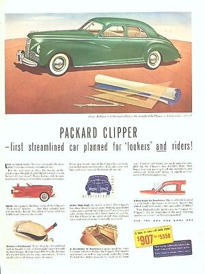 First streamlined car riders Packard Clipper ad 1941