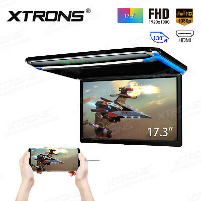 17.3 Inch Car Roof Mount Monitor Full HD 1920x1080 Flip Down Digital Screen HDMI