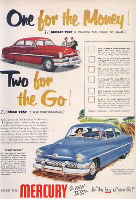 Mercury One for the Money! Two for the Go! Ad 1951