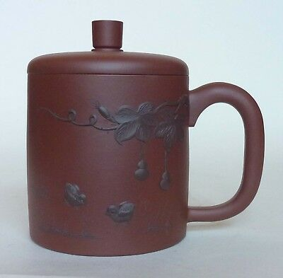 Chinese Yixing Pottery Lidded Cup - Birds & Foliage