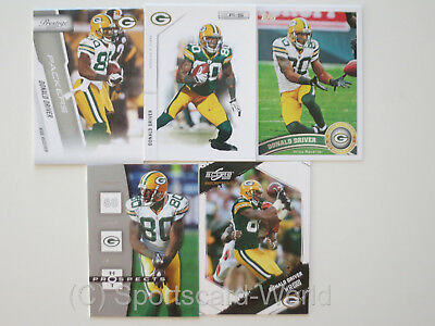 DONALD DRIVER - 5 verschiedene Trading Cards (Lot) - GREEN BAY PACKERS