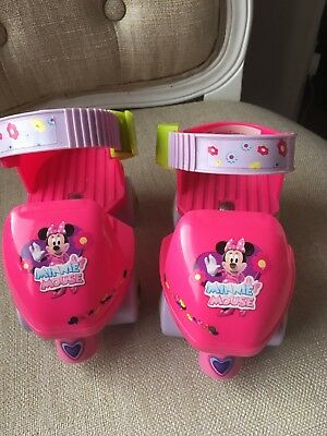 Girls Mini Mouse Pink Adjustable Roller Skates Young Girls, Size 5-11