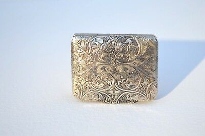 Ornate Antique Silver Plated And Engraved Small Pillbox