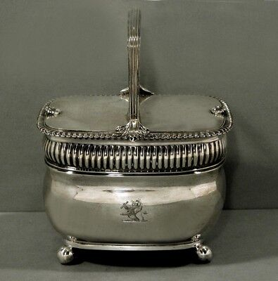 """English Sterling Double Tea Caddy    1809   32 Oz.     """" Was $3200  No Reserve """""""