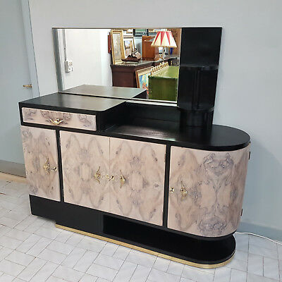 Very Rare Italian Art Deco Sideboard From 1930-40,  Black And Whithe Lacquered