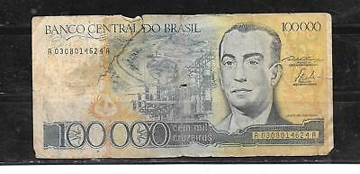 BRAZIL #205a 1985 100000 CRUZEIROS AG CIRC OLD BANKNOTE PAPER MONEY CURRENCY