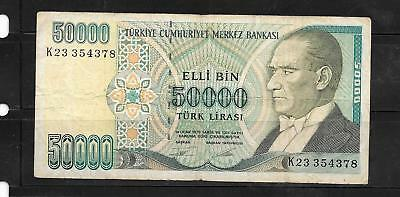Turkey #204 Vg Used 1995 Old 50000 Lira Banknote Paper Money Currency Bill Note