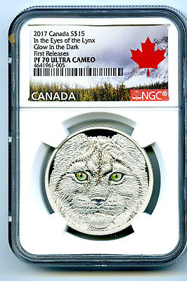 2017 Canada $15 Silver Ngc Pf70 Ucam Glow In The Dark Eyes Of The Lynx Fr Rare !