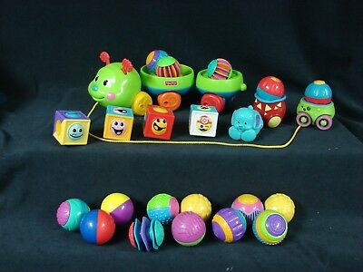Fisher Price Roll A Rounds Pull & Spin Caterpillar Sensory Balls Silly Faces Lot