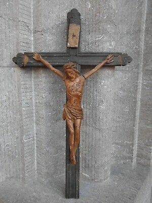 Antique 18 Century French Gothic Wood Cross Crucifix Carved Wood Jesus Christ
